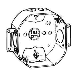 "Steel City 54151-NE 4"" Octagon Box, 1-1/2"" Deep, 1/2"" Knockouts, Drawn, Steel"