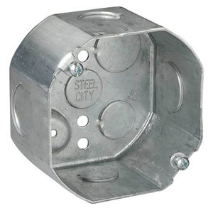 "Steel City 54171-1/2-3/4 4"" Octagon Box, 2-1/8"" Deep, 1/2"" & 3/4"" KOs, Drawn, Steel"