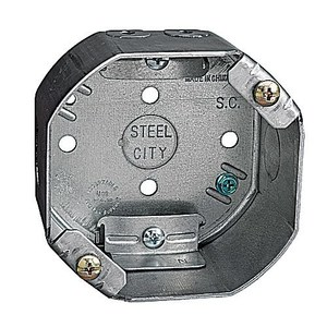 "Steel City 54171-CFB 4"" Octagon Box, 2-1/8"" Deep, 1/2"" Knockouts, Drawn, Steel"