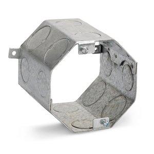 "Steel City 54571-3/4-1 4"" Octagon Concrete Box, 4"" Deep, Drawn, 3/4 - 1"" KOs, Steel"