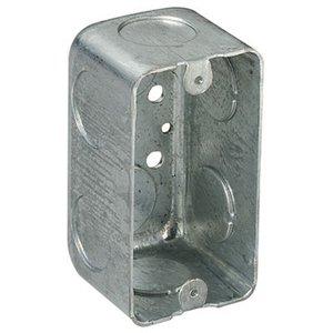 "Steel City 58371-3/4 Handy Box, 2-1/8"" Deep, 3/4"" KOs, Drawn, Steel"