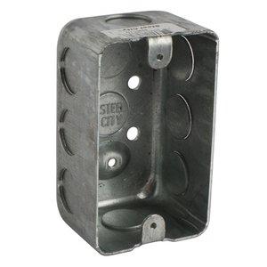 "Steel City 68361-1/2 Handy Box, 1-15/16"" Deep, 1/2"" KOs, Drawn, Metallic"