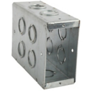 "Steel City CBTW-6 Masonry Box, 5-1/2"" Deep, 1/2"" and 3/4"" KOs, Steel"