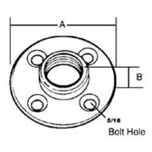 "Steel City FP-401 Floor Flange Plate, 1/2"", Malleable Iron"