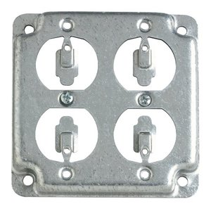 "Steel City RS-8 4"" Square Exposed Work Cover, (2) Duplex Receptacles"