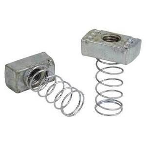"Superstrut A100-1/4 Spring Nut, 100 Series, Size: 1/4"", Steel/SilverGalv"