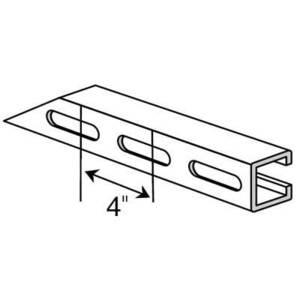 "Superstrut A1200S-20PG Channel, Slots, 1-5/8"" W x 1-5/8"" D x 20' Long, Steel, Pre-Galvanized"
