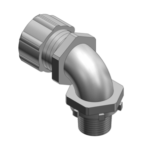 "Thomas & Betts 5254 Liquidtight Connector, 90°, 1"", Non-Insulated, Malleable Iron"
