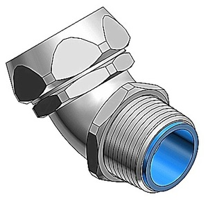 """Thomas & Betts 5344SST Liquidtight Connector, Insulated, 45°, Size, 1"""", Stainless Steel ***OBSOLETE***"""