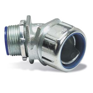 "Thomas & Betts 5345 Liquidtight Connector, 45°, 1-1/4"", Steel"