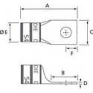 Thomas & Betts 54921BE Copper Compression Lug, 600 MCM, 1-Hole Stud, Long Barrel