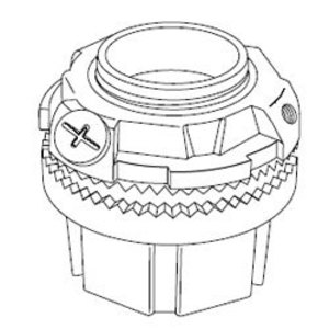 "Thomas & Betts H150GRSST Grounding Hub, 1-1/2"", Insulated, Sealing Ring, Zinc"