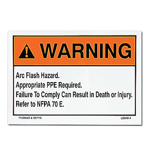 Thomas & Betts LB94913 Arc Flash Hazard Label, WARNING ARC FLASH HAZARD