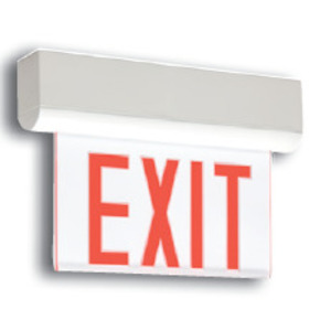 Thomas & Betts LXNRCULP Exit Sign, Edge-Lit, Self-Powered, LED, Clear, Red Letters
