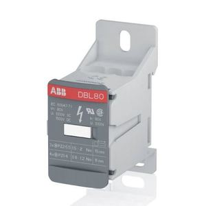 Thomas & Betts 1SNL308010R0000 Terminal Block, Distribution, Gray, 80A, Feed Through, 28.4mm W