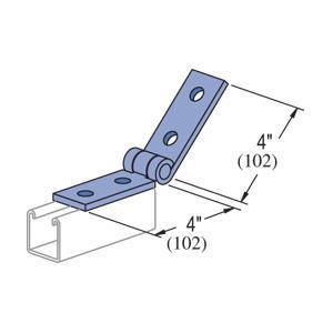 Unistrut P1354-EG Adjustable Hinge Connector, 4-Hole, Steel/Electro-Galvanized