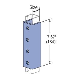 """Unistrut P1377-EG """"U""""-Shape Fitting, 4-Hole, Length: 7-1/4"""", Steel/Electro-Galvanized"""