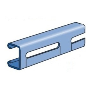 "Unistrut P4100SL-10PG Channel with 3"" Slots, Steel, Pre-Galvanized, 1-5/8"" x 13/16"" x 10'"