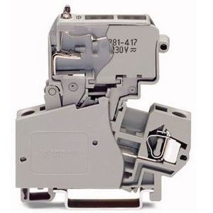 Wago 281-623/281-541 Terminal Block, Fused Disconnect, Pivoting Fuse Holder, 10A, 800V