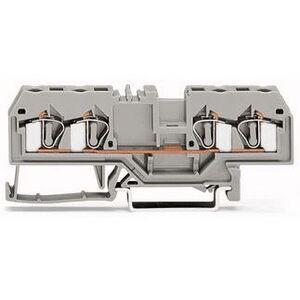 Wago 51129607 Terminal Block, Feed Through, 4 Conductor, Gray, 26A, 800V AC/DC