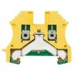 Weidmuller 1010100000 Terminal Block, Green/Yellow, W-Series, PE, 4mm, Screw Connection