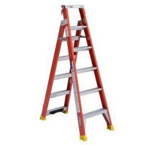 Werner Ladder DP6206 Dual Purpose Ladder, Fiberglass, 6' Stepladder, 14' Extension