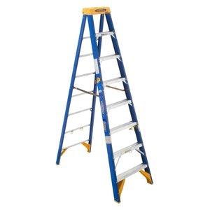 Werner Ladder OBEL08 Job Station Step Ladder, 8', Type IAA, 375 lbs