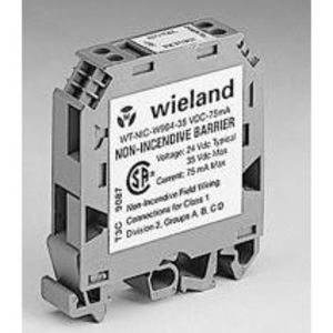 Wieland 34.243.0008.0 Terminal Block, Non-Incendive Barrier, 24VDC, 75mA, Gray