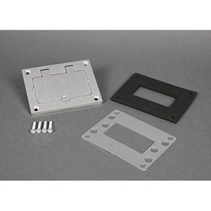 "Wiremold 828GFITCAL GFI Cover Plate, 3.156 x 4.182"", Flip Lid, Aluminum"
