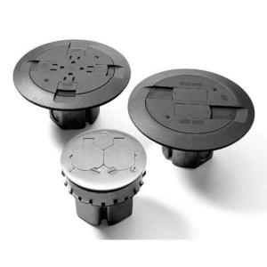"Wiremold 861QTCBK Floor Box Assembly, Round, (4) 15A Receptacles, (3) 1/2"" KOs"