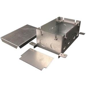"Wiremold 880S2 Rectangular Floor Box, 2-Gang, Depth: 3-15/32"", Steel"
