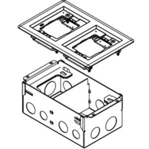 "Wiremold 880W2827B 3-7 1/6"" Depth, 2-Gang steel Floor Box,brass flange"