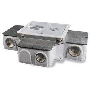 """Wiremold RFB4-CI-1 4-Compartment Combination Box, Depth: 3-7/16"""", Metallic"""