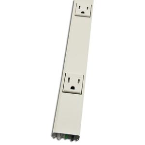 """Wiremold V20GB506TR Tamper Resistant Outlet Strip, Steel, Ivory, 8 Outlets, 6"""" Centers, 5' Long"""