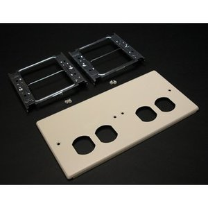 Wiremold V4047-2BBXX 4-Gang Cover, (2) Duplex Openings, 4000 Series, Ivory