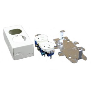 Wiremold V57243G Duplex Receptacle & Box, 500/700 Series Raceway, Ivory