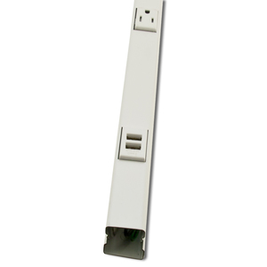 Wiremold WH20GB306TRUSB Steel, Prewired Plugmold, Tamper-Resistant, 3' Long, White
