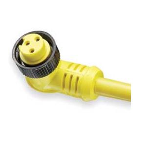 Woodhead 103001A01F120 Cordset, 3P, Mini-Change, Female, 90D, 13A, 600V AC/DC, 12', Yellow