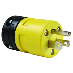 Woodhead 1447 Super-Safeway Straight Blade Plug, 15A, 125V, 2P3W, Yellow