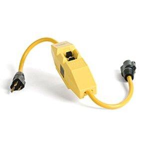 Woodhead 15050-1 In-Line GFCI, Molded-On Plug & Tri-Connector, 15A, Auto, 2'