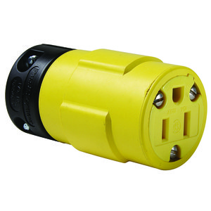 Woodhead 1547 Connector, Rubber, 15A, 125V, NEMA 5-15R, Yellow