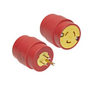 Woodhead 1744 Adaptor, 15A/125V Straight Plug to 20A/125V Locking Receptacle, Yellow