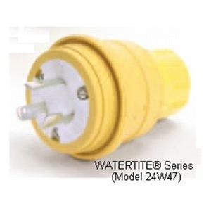 Woodhead 24W47 Locking Plug, 15A, 125V, Yellow, Wetguard, 2P3W