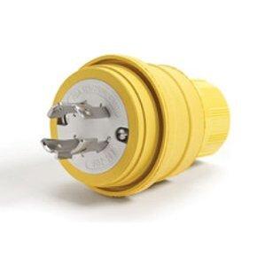 Woodhead 28W74 Watertight Locking Plug, 30A, 125/250V, L14-30P, Rubber, Yellow
