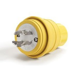 Woodhead 28W75 Watertight Locking Plug, 15A, 3PH, 250V, 3P4W, Yellow