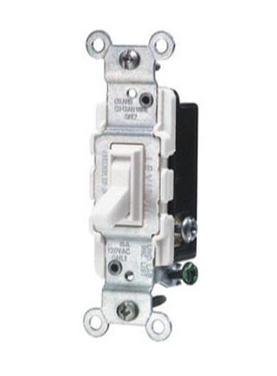 3-Way Toggle Switch, 15A, 120VAC, White, Residential Grade