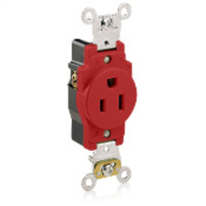 15 Amp Single Receptacle, 125V, 5-15R, Red, Spec Grade