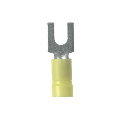 Fork Terminal, Funnel Entry, Vinyl Insulated, 14 - 10 AWG, Stud: #10