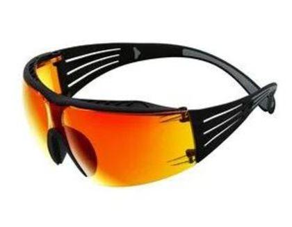 Safety Glasses, Gray/Black, Orange Mirror Anti-Scratch Lens