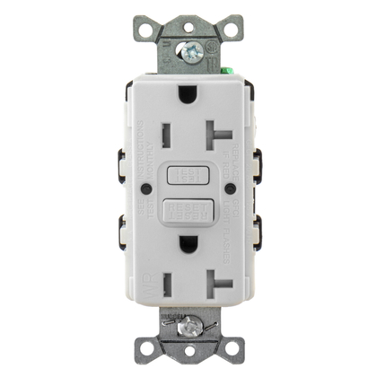 Tamper/Weather Resistant GFCI Receptacle, 20A, 125V, White